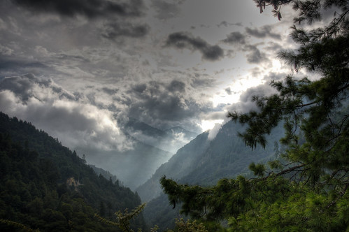 sunset mountains landscape bhutan hills hdr thunderdragon