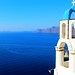 Oia village Santorini. The bell tower and the Aegean Sea