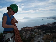 Helen coiling the ropes with a view over to Benidorm Image