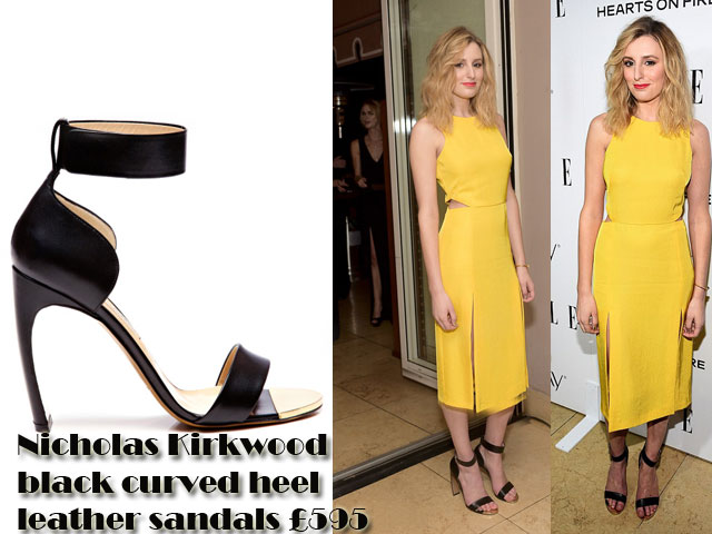 Nicholas-Kirkwood-black-curved-heel-leather-sandals,Nicholas Kirkwood black curved heel leather sandals, strappy sandals, black strappy sandals, ankle strap sandals, bright yellow gown, bright yellow dress