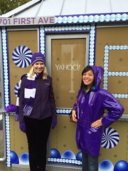 A great place to work! CEO Marissa Mayer greets #Yahoo employees passing by the gingerbread-house security-guard station in the morning & I keep the rain away by wearing the Violet C raincoat that my mom bought me when I was a sixth-grader.