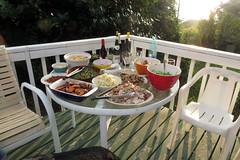 Thanksgiving spread on the lanai-2014