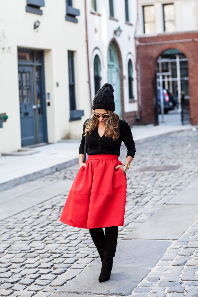 express red mid skirt dakotah coach stachel black bag joie black suede boots over the knee suede boots jcrew cardigan black sweater dolce and gabbana gold lace sunglasses black beanie forever 21 hat nyc fashion blogger holiday outfits