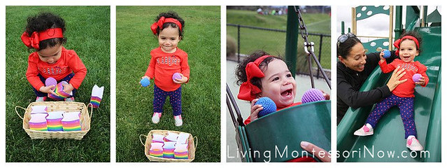 Fun with Rainbow Bags and Yarn Balls at the Park