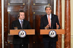 U.S. Secretary of State John Kerry addresses reporters during a joint news conference with Serbian Foreign Minister Ivica Dacic at the U.S. Department of State in Washington, D.C., on February 26, 2015. [State Department photo/ Public Domain]
