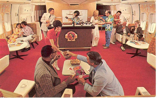 Vintage airline first class bar