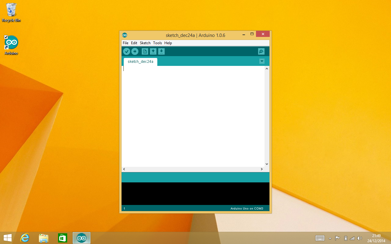 The Arduino IDE running on Windows 8.1