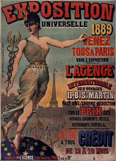 ĐẤU XẢO QUỐC TẾ 1889 TẠI PARIS - Exposition universelle 1889. Venez tous à Paris voir l' Exposition.. 131 x 98 cm