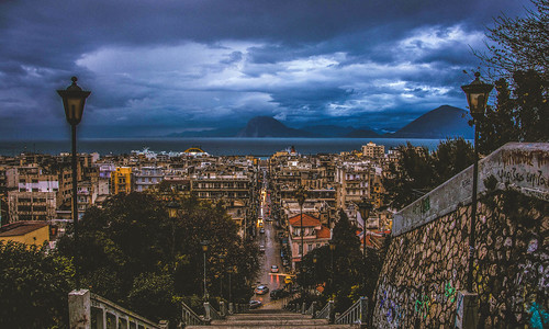 street city winter sky rain night clouds boat town nikon cityscape view traffic ships greece drama overview patras peloponnese d7100
