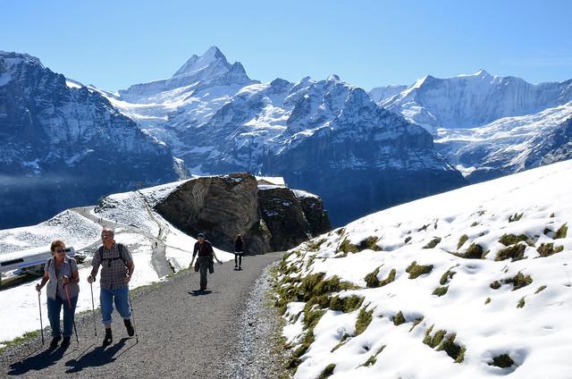 Subiendo un tramo nevado camino de los lagos Bachalpsee