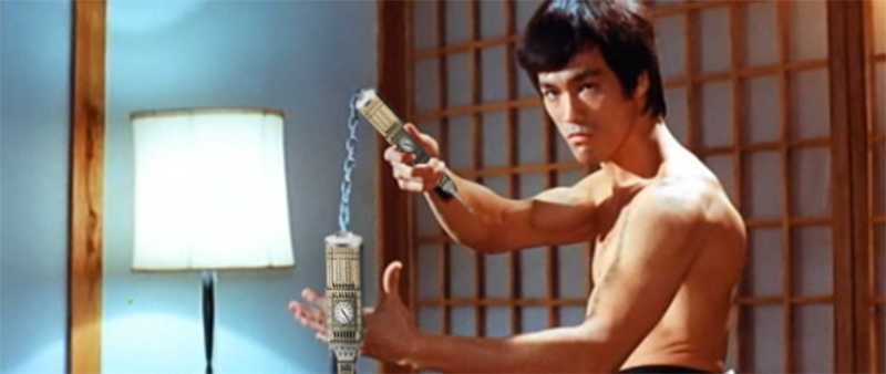 Bruce Lee with the Big Ben + Nunchucks