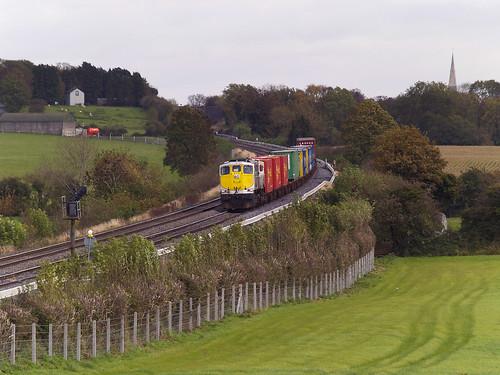 railroad railway irishrail freighttrain emd iarnrodeireann norfolkline containertrain jt22cw ie071 cherryvillejunction norfolkliner ie075 railwaykildare