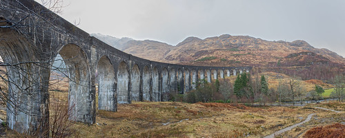 Glenfinnan Viaduct West Highland Line in Glenfinnan Scotland. (The Viaduct of Harry Potter)