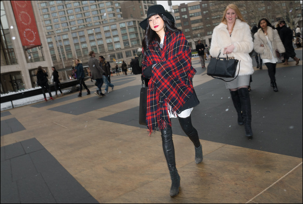FW2-15  40w red black plaid wrap over black jacket oversize white shirt lback leather pants  studded angle boots fedora
