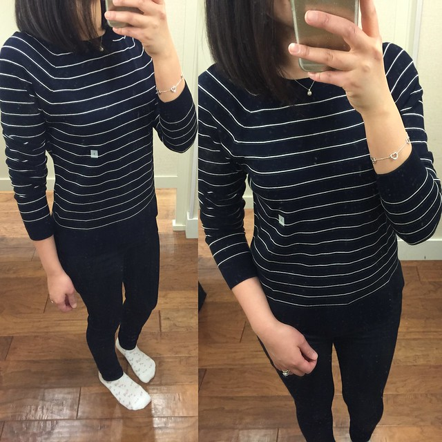 LOFT Striped Hi-Low Sweater, size S