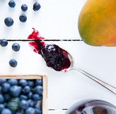 Wild blueberries and mango jam