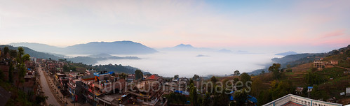 city morning nepal panorama cloud fog sunrise buildings town asia view panoramic hills himalaya himalayas gorkha indiansubcontinent tanahun