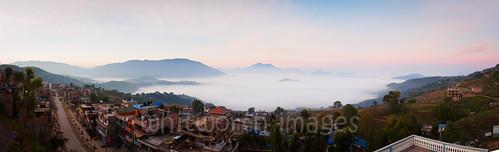 city morning nepal panorama cloud fog sunrise buildings town asia view panoramic hills himalaya himalayas gorkha indiansubcontinent tanahun