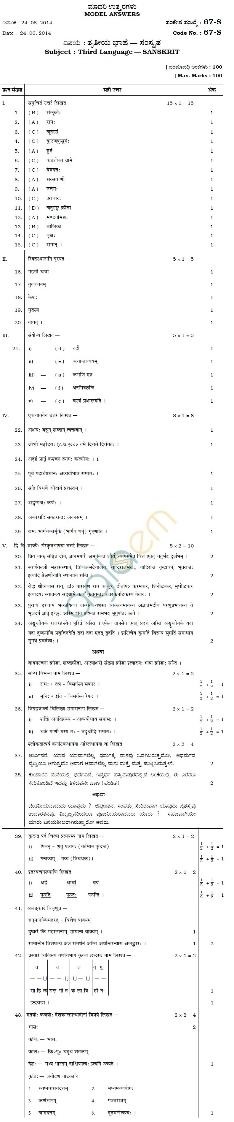 Karnataka SSLC Solved Question Paper June 2014 - Sanskrit III