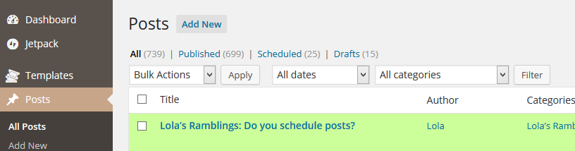 scheduled posts