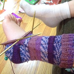 #sock. Ash is so #excited. #knit #iloveyarn #knittersofinstagram #socks #dpn #loopsandthreads #foot