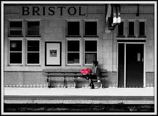 Girl with balloons, Bristol Temple Meads station.