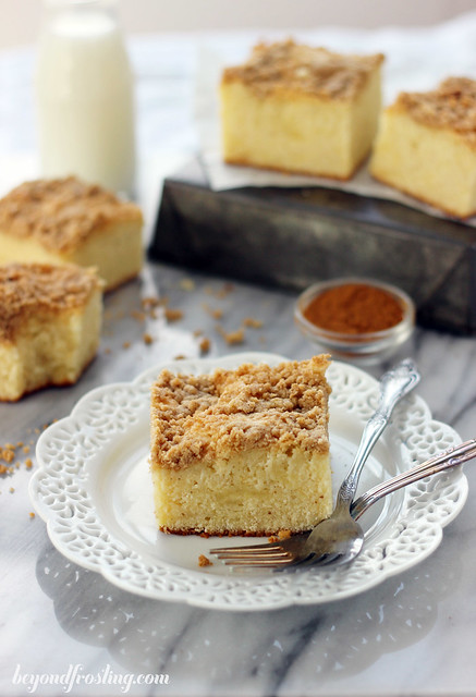 A dense Eggnog Coffee Cake with a buttery brown sugar streusel