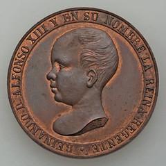 Alfonso XIII copper Manila Railroad Medal obverse