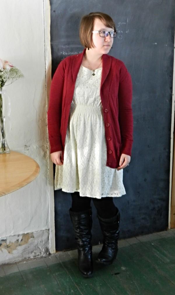 lace dress, rose cardigan, black boots