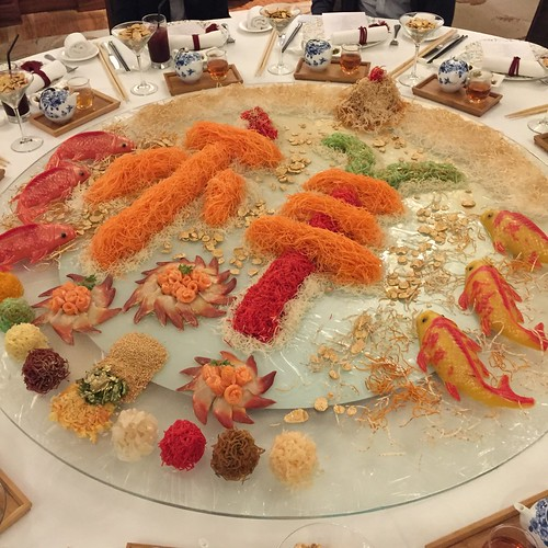 Man Fu Yuan's Salmon & Japanese Hokkigai Yu Sheng with Ponzu Shoyu. Chinese New Year 2015. InterContinental Singapore