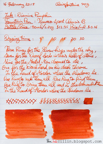 Diamine Pumpkin on Clairefontaine
