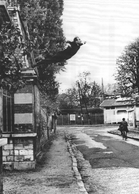 Yves Klein, Leap into the Void, 5, rue Gentil-Bernard, Fontenay-aux-Roses, octobre 1960.  Artistic action of Yves Klein. © Yves Klein, ADAGP, Paris, 2015 Collaboration Harry Shunk and Janos Kender © J.Paul Getty Trust. The Getty R. I.