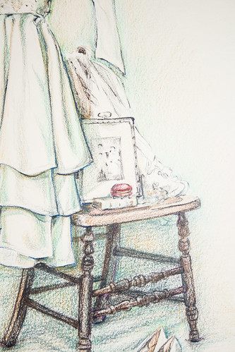 Detail of Vera's wedding dress drawing