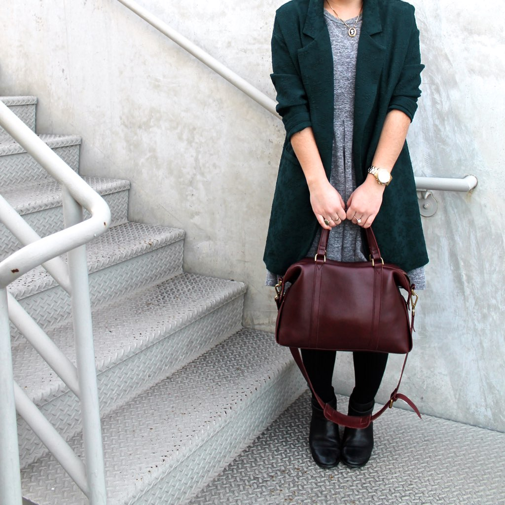 Madewell burgundy leather handbag