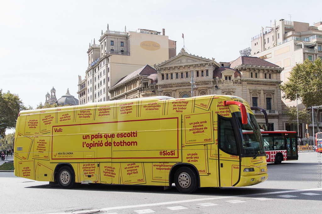Автобус агитирует за независимость Каталонии