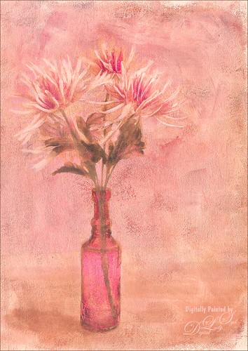 Painted Image of pink and white flowers in a vase