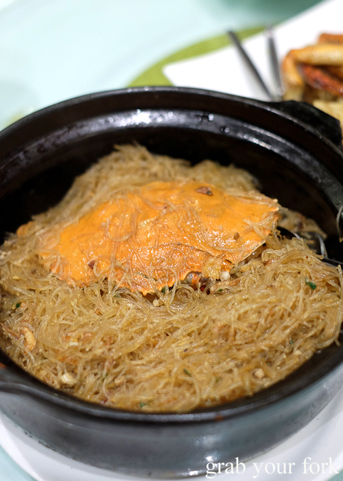 Mud crab with vermicelli at Golden Palace Seafood Restaurant, Cabramatta