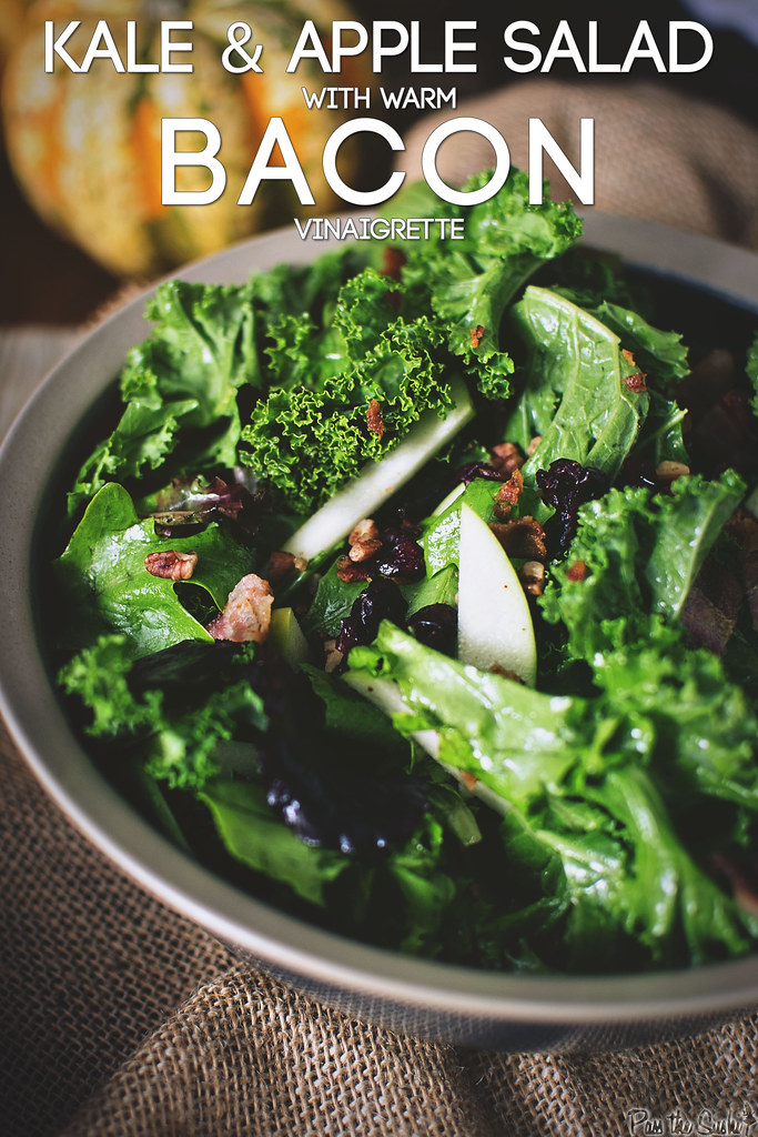 Kale & Apple Salad with Warm Bacon Vinaigrette || GirlCarnivore.com