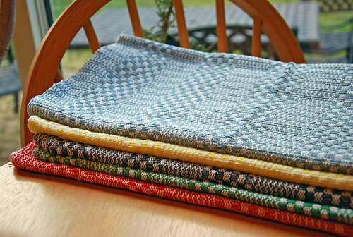 Handwoven cotton kitchen towels in Keep it Simple pattern