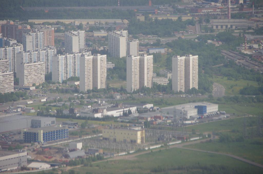 Вид из самолёта на Новопеределкино. Новопеределкинская улица.