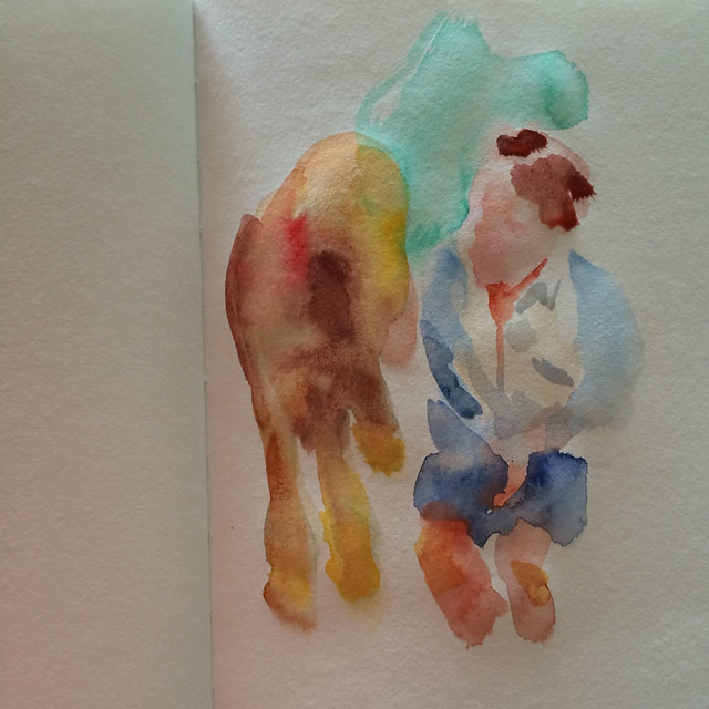 "Watercolour painting by Ako Lamble ""Mike and Henry"" Process1"