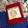 Embroidered composition book cover. This will be a MVP award at a bout some day. #handembroidery #rollerderby #create