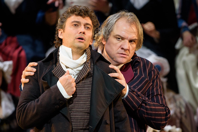 Jonas Kaufmann as Andrea Chénier and Željko Lučić as Carlo Gérard in Andrea Chénier © ROH. Bill Cooper 2015