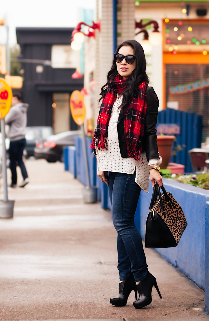 https://cuteandlittle.com | petite fashion blog | black moto jacket, polka dot shirt, red plaid scarf, citizens maternity jeans, black ankle booties, clare v sandrine leopard satchel | maternity | fall winter outfit