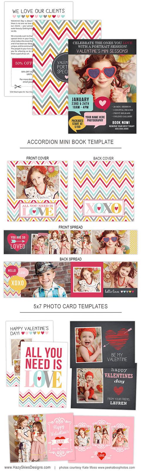 Valentine's Day Mini Session Marketing & Sales Kit for Photographers www.hazyskiesdesigns.com