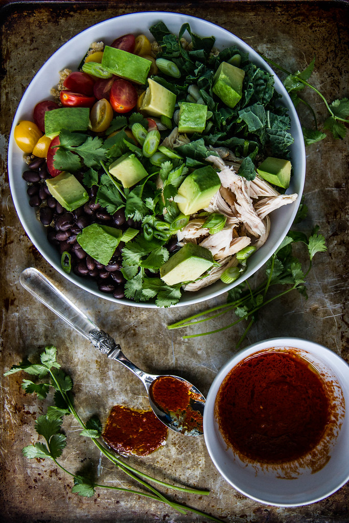 Southwestern Chicken Quinoa bowl with Harissa Vinaigrette