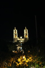 Night view of Catedral de San Gervasio from 4th floor El Meson del Marques
