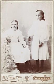 Clara and Hilda Peterson (Cabinet Card by R. Steele, Waukon, Iowa)