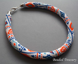 """Ethnic Way"" bead crochet necklace / bead crochet pattern"