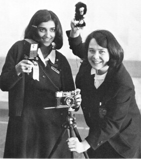 Photography students with their little monkey to capture childrens attention 1970 Notre Dame  High School